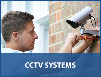 engineer completing a cctv installation