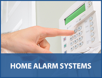 man setting home alarm with text home alarm systems